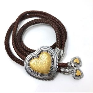 Vintage Double Braided Leather Heart Belt